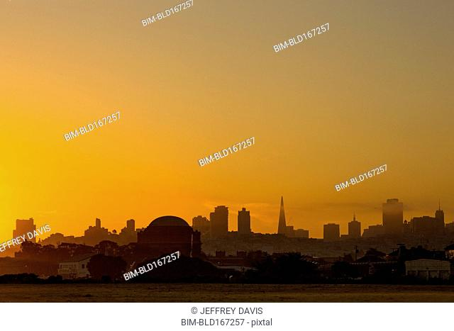 Silhouette of San Francisco city skyline at sunrise, California, United States