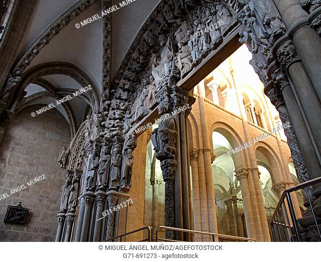 Pórtico da Gloria (by Master Mateo, built between 1168 - 1188 at the request of king Ferdinand II of Leon). Masterwork of romanesque sculpture and former...