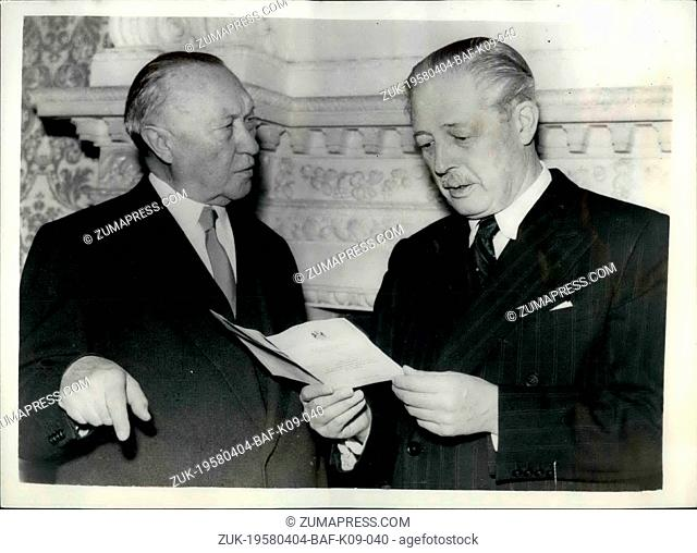 Apr. 04, 1958 - Mr. Macmillan And Dr. Adenauer Meet For Talks. Photo shows Mr. Harold Macmillan, the Prime Minister (right)