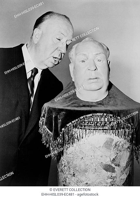 Alfred Hitchcock whispering into the ear of a plaster sculpture of his head. It will be his stand-in as he begins shooting the fourth TV season premiere of...