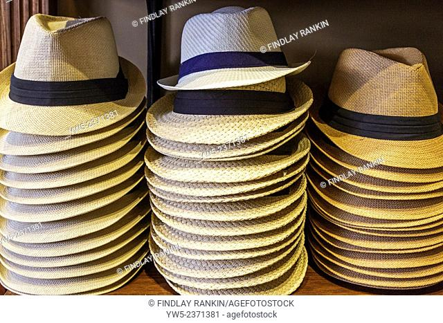 Selection of gent's straw summer hats for sale