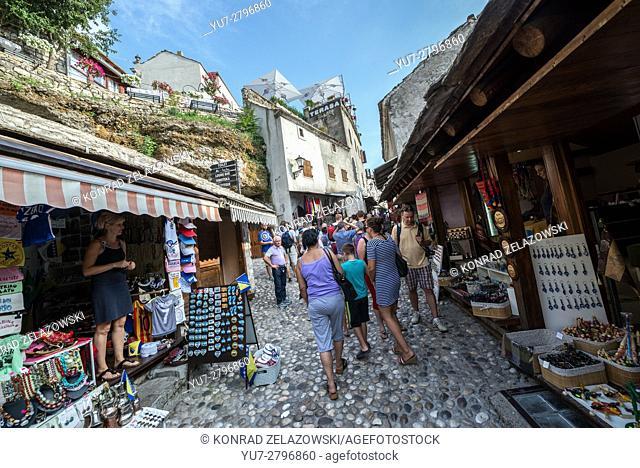 Souvenir shops at Kujundziluk pedestrian street on Stari Grad (Old Town) of Mostar city, Bosnia and Herzegovina
