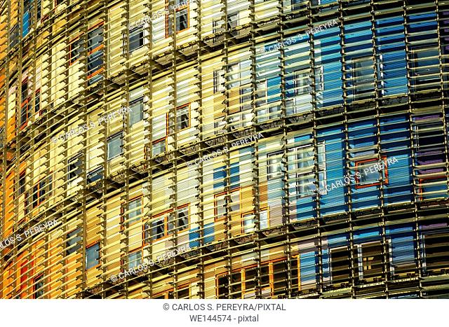 Torre Agbar building by architect Jean Noveul in Barcelona, Catalonia, Spain
