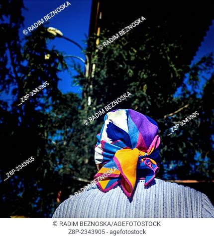 Woman in colorful headscarf, Czech Republic