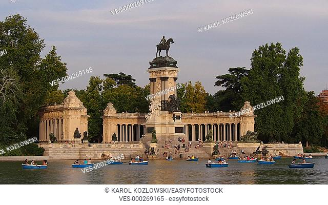 Alfonso XII Monument and Lake in Parque del Retiro - Retiro Park in Madrid, Spain