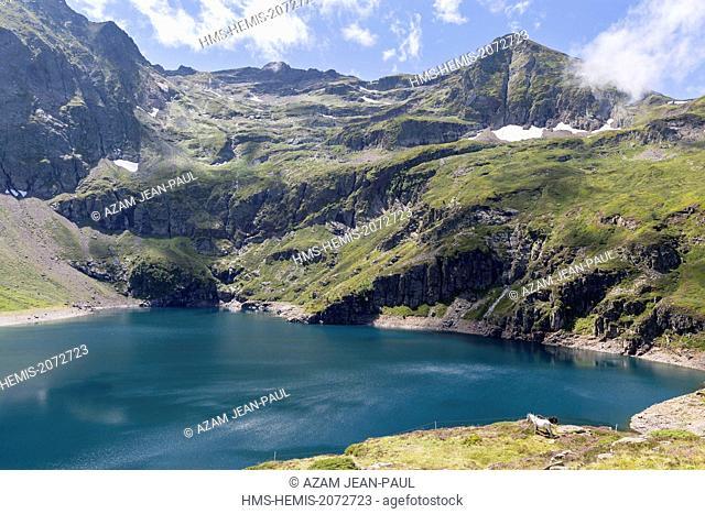 France, Ariege, Sentein, Biros valley, Araing lake and Crabere peak