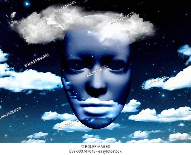 Mask in cloudy sky