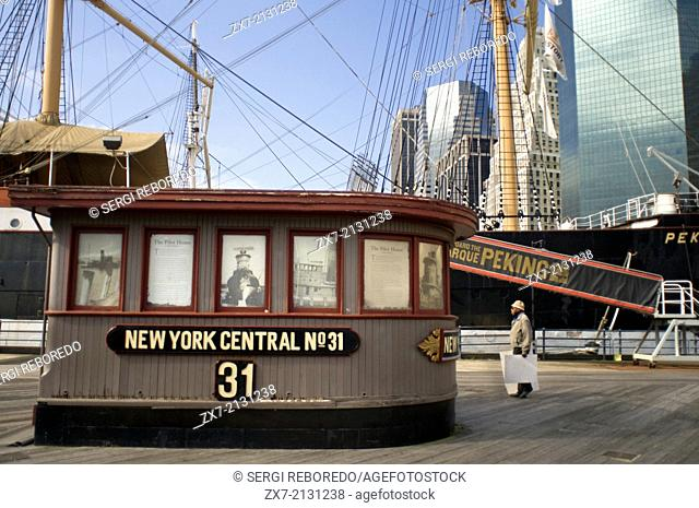 The Pilot House of former New York Central steam tugboat number 31 on display on Pier 16 at South Street Seaport. Seaport Pier 16 and 17
