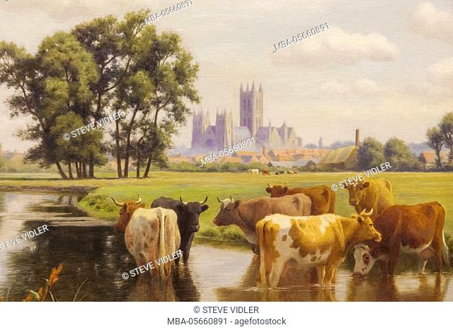 England, Kent, Cantebury, The Beaney Institute Public Library and Museum, Painting of Cantebury Cathedral from The Stour Meadows by William Sidney Cooper dated...
