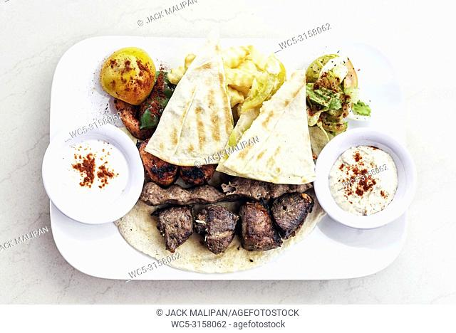 traditional middle eastern food mixed bbq barbecue grilled meat platter set meal