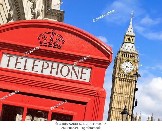 Big Ben and Telephone Box Westminster London England UK
