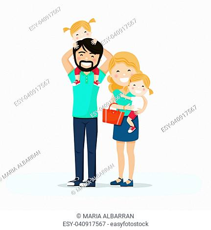 Isolated happy family with little twins. Vector illustration