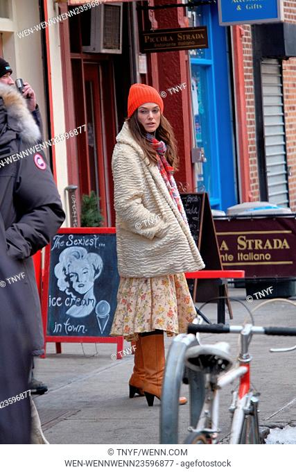 Stars on the set of 'Collateral Beauty,' filming in Manhattan Featuring: Keira Knightley Where: Manhattan, New York, United States When: 04 Mar 2016 Credit:...