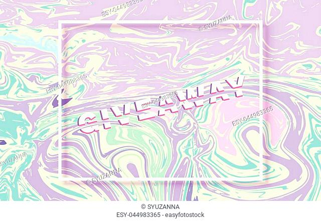 Giveaway horizontal banner. Sliced text effect. Template for social media post. Liquid paint style background. Vector illustration