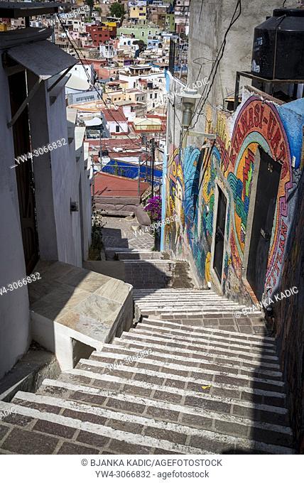 Stairs leading down from El Pípila monument, Guanajuato, city in Central MexicoGuanajuato, city in Central Mexico