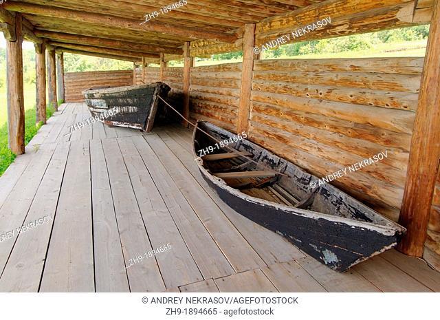 old wooden fishing boat, 'Taltsa's' Talzy - Irkutsk architectural and ethnographic museum  Baikal, Siberia, Russian Federation