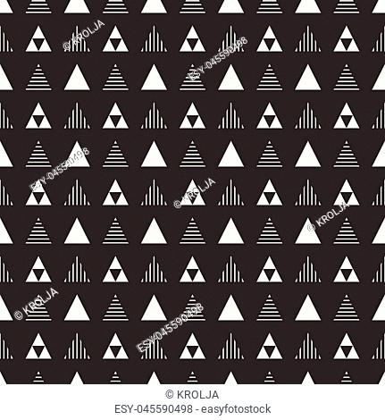 Geometric line monochrome abstract hipster seamless pattern with triangle. Wrapping paper. Scrapbook. Print. Vector illustration. Background