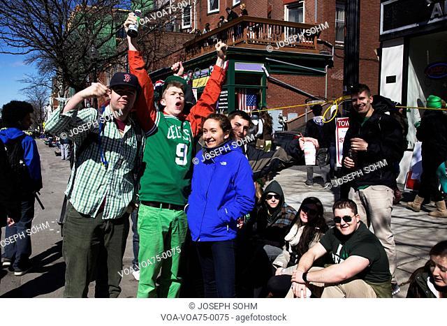 Enthusiastic crowd, St. Patrick's Day Parade, 2014, South Boston, Massachusetts, USA