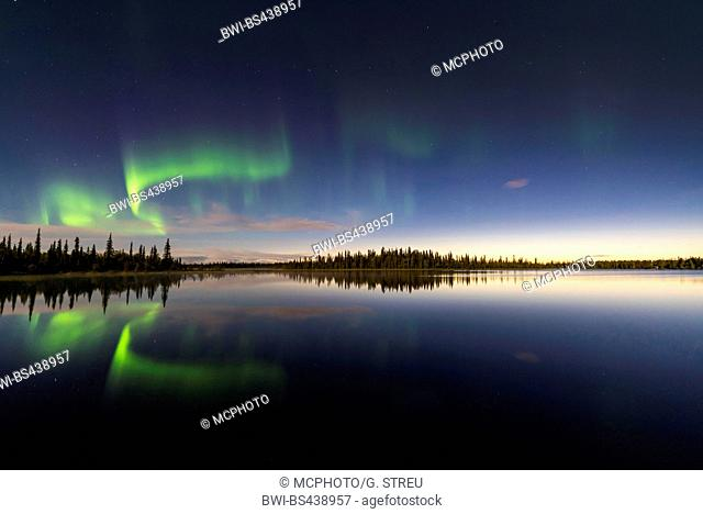 evening at a lake in Sjaunja Reserve with polar light, Sweden, Lapland, Norrbotten, Sjaunja