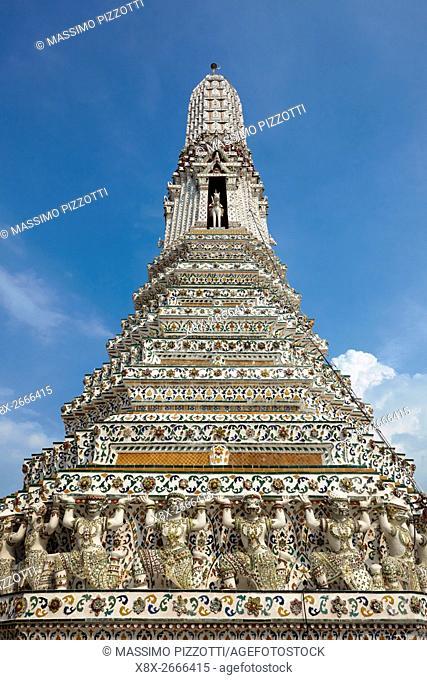 Chedi of Wat Arun temple, Bangkok, Thailand at Wat Arun, Bangkok, Thailand