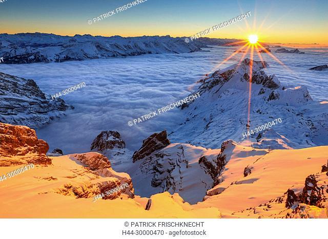 Aussicht vom Säntis, Appenzell, Schweiz
