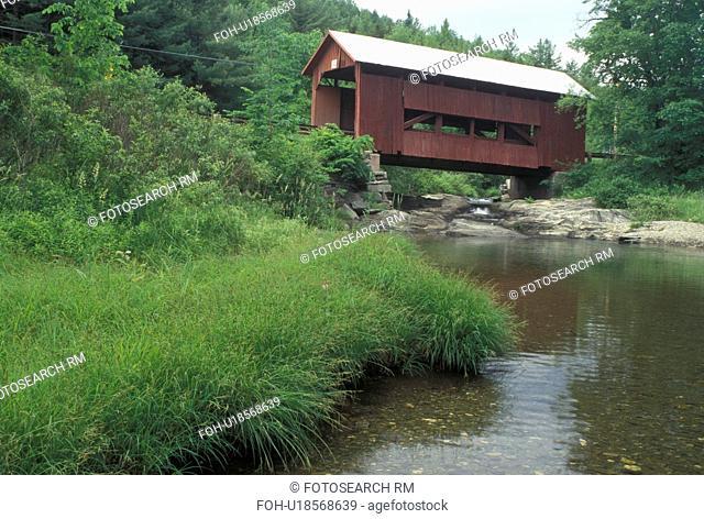 covered bridge, spring, Northfield Falls, VT, Vermont, Upper Covered Bridge crosses over Cox Brook in the spring in Northfield Falls