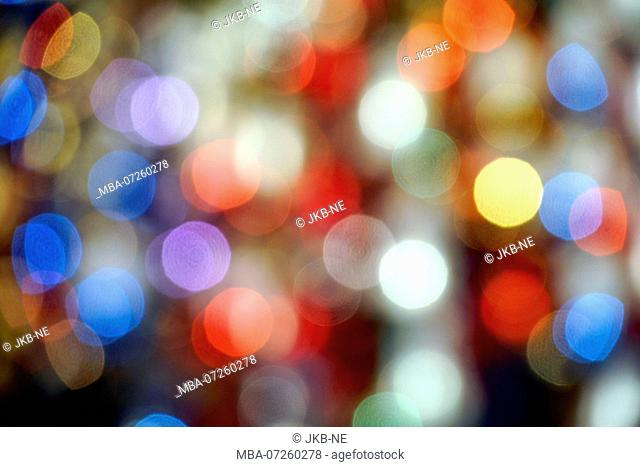 Germany, Bavaria, Munich, Marienplatz, Christmas market, Christmas tree decoration, points of light, defocused