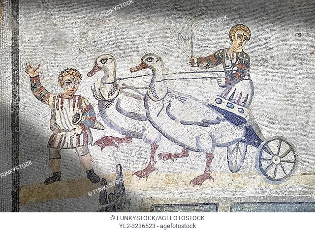 Roma children's chariot race from The Vestibule of The Smnall Circus, room no 41 - Roman mosaics at the Villa Romana del Casale