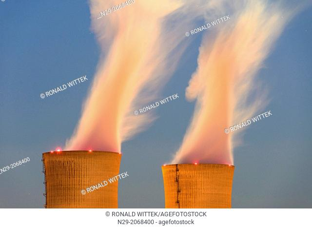 Nuclear power plant in blue hours, Grafenrheinfeld, Schweinfurt, Bavaria, Germany