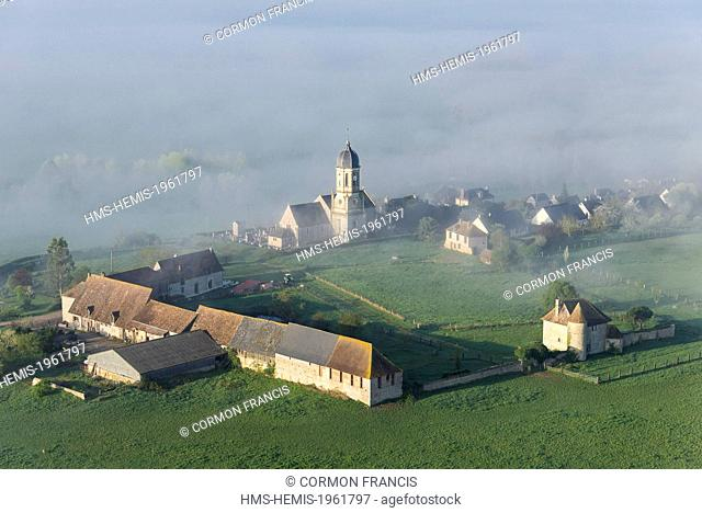 France, Calvados, Hotot en Auge, Haute Justice castle dating from the 15th century (aerial view)