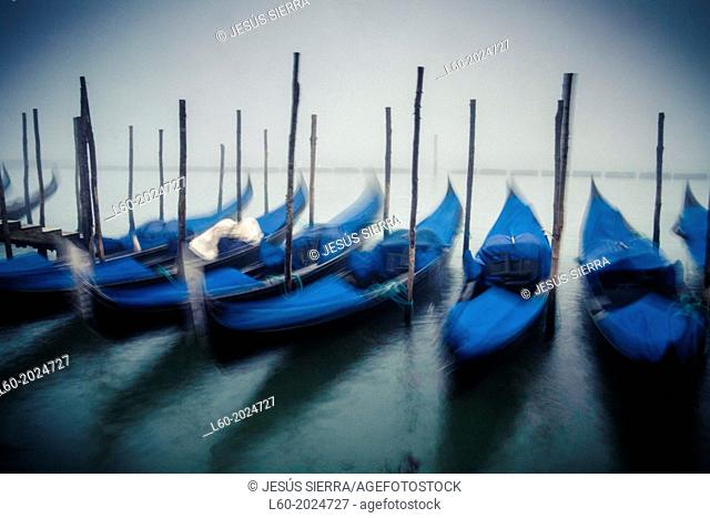 Gondolas at St Mark's Square, Venice, Venetia, Italy, Europe