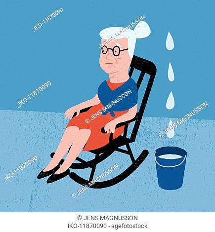 Water dripping into bucket next to elderly woman in rocking chair