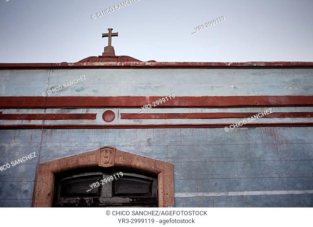 The facade of a colonial house in Santiago de Queretaro, Mexico