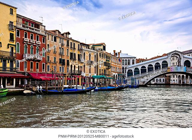 Bridge over a canal, Rialto Bridge, Grand Canal, Venice, Veneto, Italy