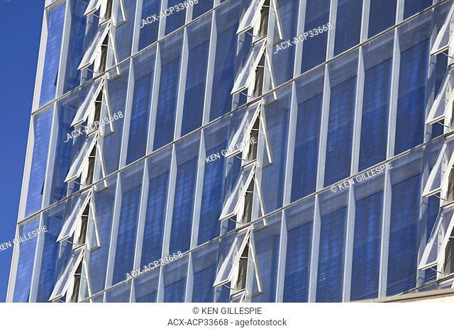 Rows of open windows on the Manitoba Hydro office tower. Considered one of the world's most environmentally friendly office buildings