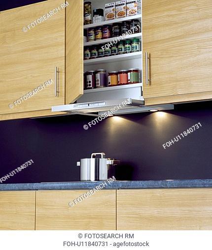 Kitchen cupboard door open to show jars on shelves above recessed lighting&13,&10,&13,&10,&13,&10,&13,&10,&13,&10,&13,&10
