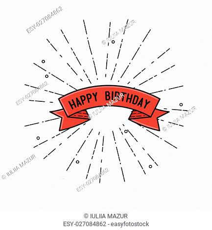 Happy birthday, flat design thin line banner, for e-mail newsletters, web banners, headers, blog posts, print simple flat poster
