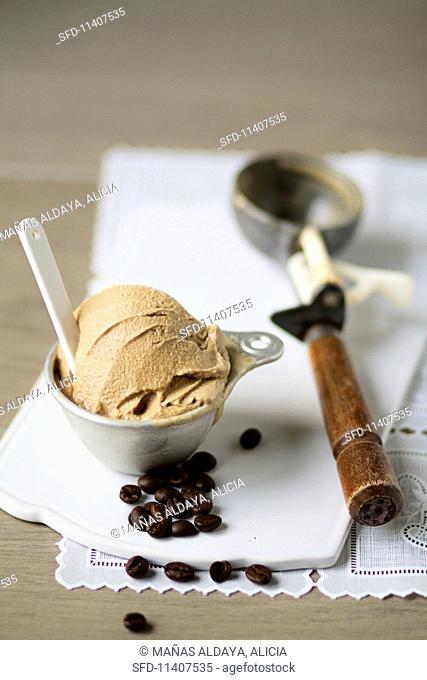 Coffee ice cream and coffee beans