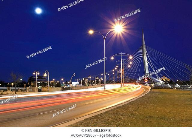Esplanade Riel Bridge on a moonlit night. Winnipeg, Manitoba, Canada