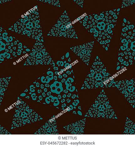 Seamless pattern tile with triangle mandalas. Vintage decorative elements. Hand drawn background. Islamic, Arabic, Indian, Ottoman, Persian motifs