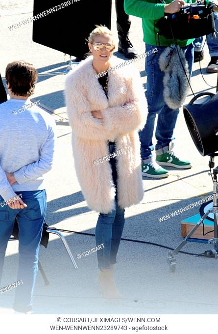 """Super Model Heidi Klum sports a mink coat while filming scenes and photoshoots for """"""""Germany's Next Topmodel"""""""" filming in downtown Los Angeles"""
