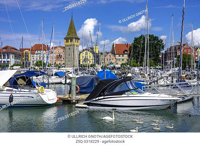 Harbour and waterfront with the Mangturm tower in the Old Town of Lindau in Lake Constance, Bavaria, Germany, Europe