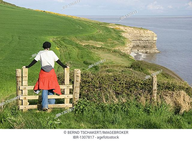 Woman climbing over a stile, overlooking the coast, hiking, Llantwit Major, Wales, United Kingdom, Europe