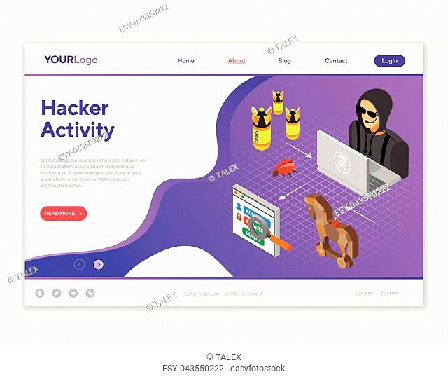Cyber crime and Hacker Activity Concept with isometric flat icons like hacker, virus, bug and hacking password. Landing page template