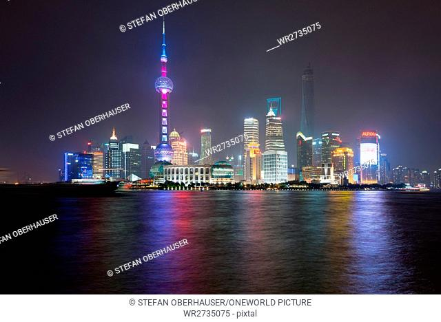 China, Shanghai, skyline of Pudong with the famous Pearl Tower