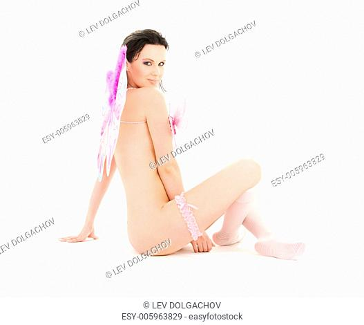 healthy naked woman with butterfly wings over white