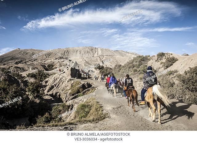 Tourists riding towards Bromo's caldera in Bromo Tengger Semeru National Park (East Java, Indonesia)