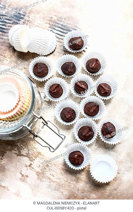 Chocolate truffles in baking cups