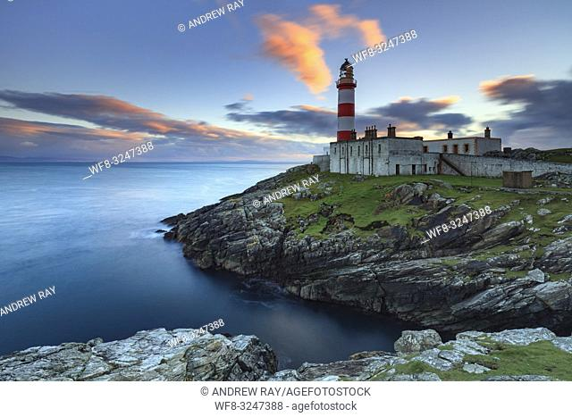 Eilean Glas Lighthouse on the Isle of Scalpay in the Outer Hebrides, captured at sunset