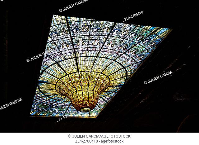 Spain, Catalonia, Barcelona, Palace of Catalan Music (Palau de la Musica Catalana) designed in the Catalan modernista style by the architect Lluis Domenech i...